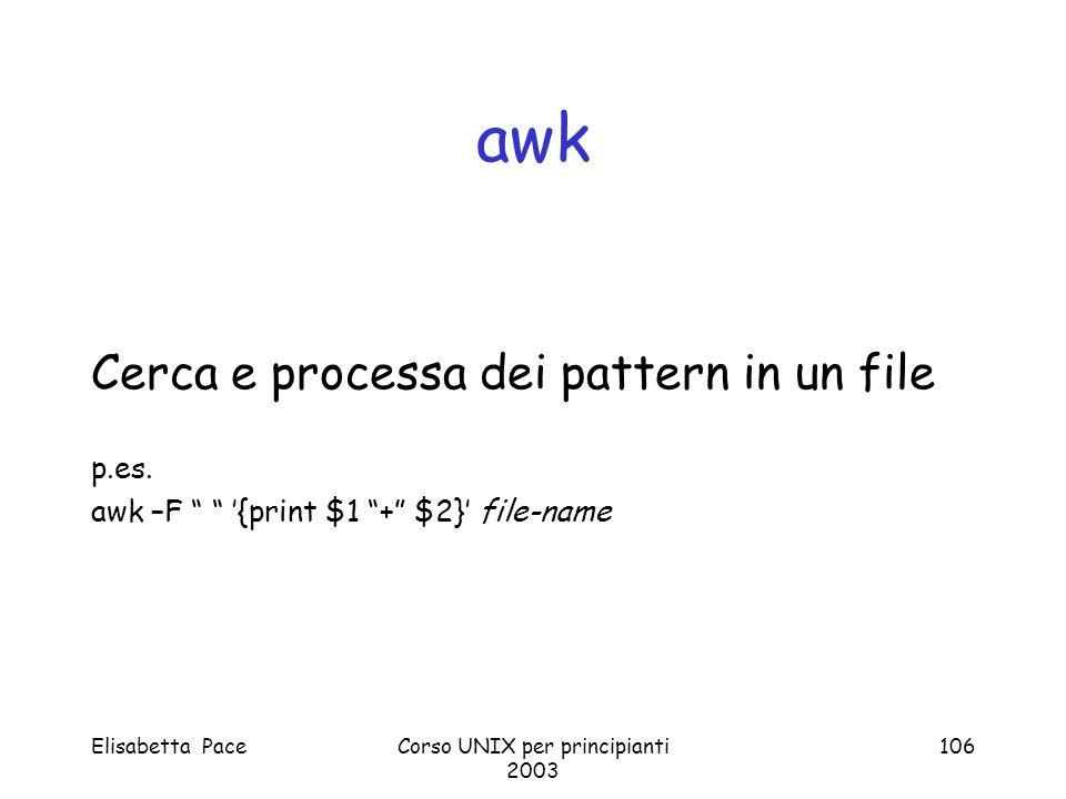 Elisabetta PaceCorso UNIX per principianti 2003 106 awk Cerca e processa dei pattern in un file p.es. awk –F {print $1 + $2} file-name