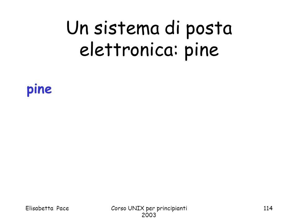 Elisabetta PaceCorso UNIX per principianti 2003 114 Un sistema di posta elettronica: pine pine