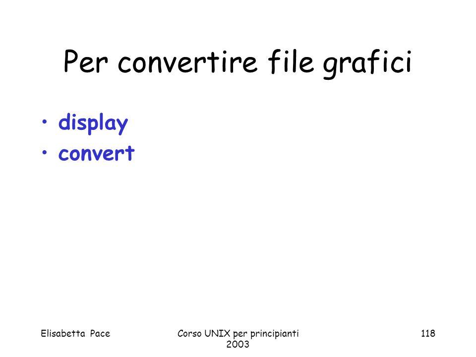 Elisabetta PaceCorso UNIX per principianti 2003 118 Per convertire file grafici display convert