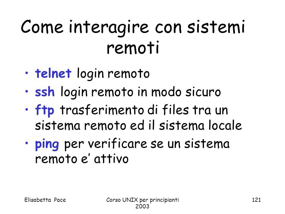 Elisabetta PaceCorso UNIX per principianti 2003 121 Come interagire con sistemi remoti telnet login remoto ssh login remoto in modo sicuro ftp trasfer