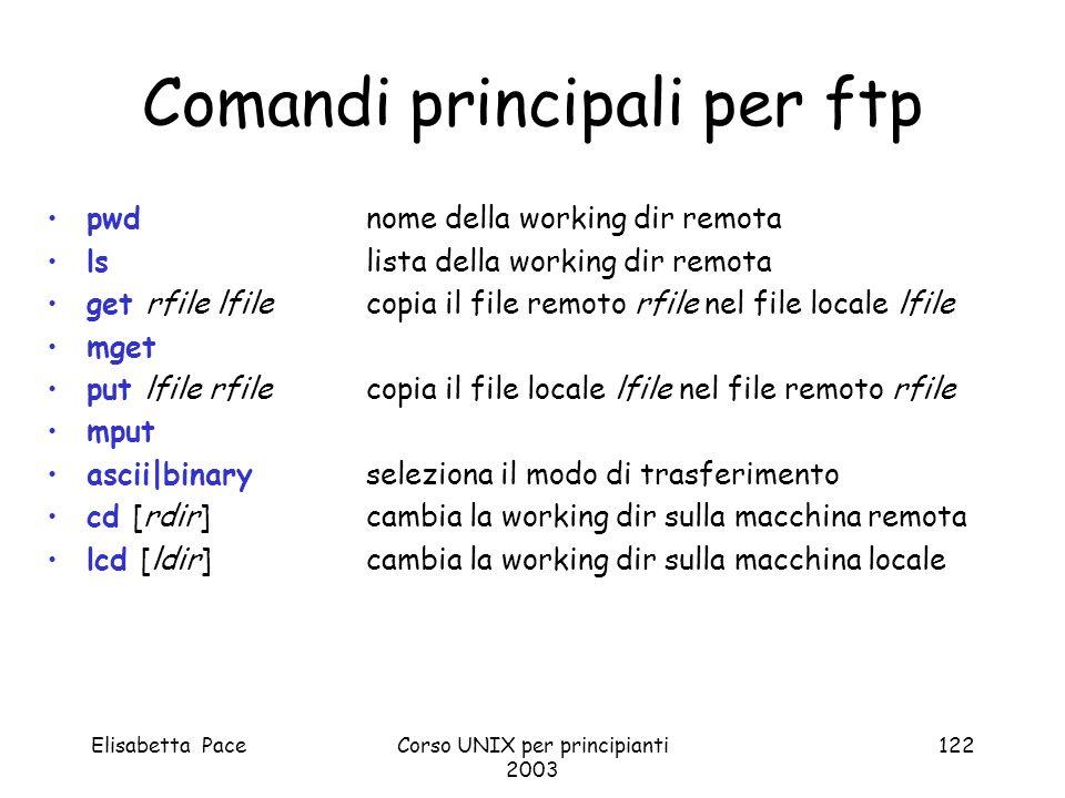 Elisabetta PaceCorso UNIX per principianti 2003 122 Comandi principali per ftp pwdnome della working dir remota lslista della working dir remota get r