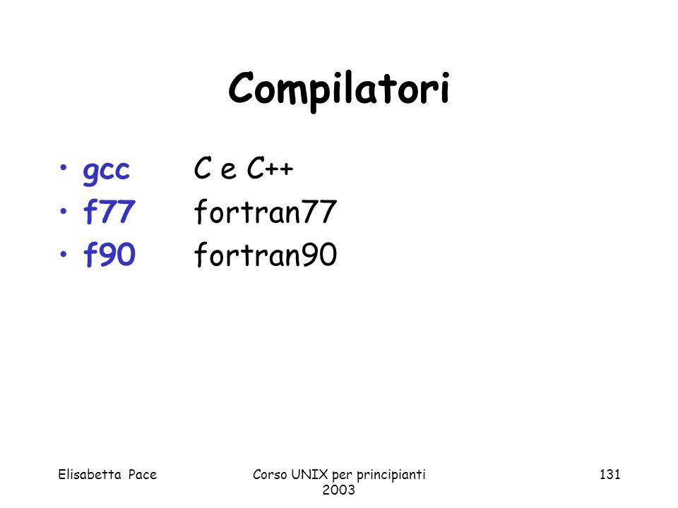 Elisabetta PaceCorso UNIX per principianti 2003 131 Compilatori gcc C e C++ f77fortran77 f90 fortran90