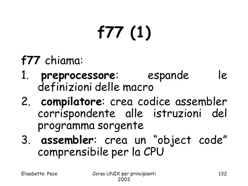 Elisabetta PaceCorso UNIX per principianti 2003 132 f77 (1) f77 chiama: 1. preprocessore: espande le definizioni delle macro 2. compilatore: crea codi