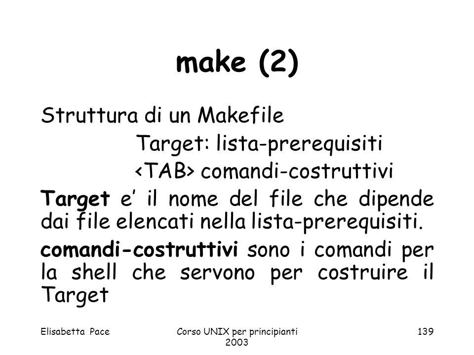 Elisabetta PaceCorso UNIX per principianti 2003 139 make (2) Struttura di un Makefile Target: lista-prerequisiti comandi-costruttivi Target e il nome