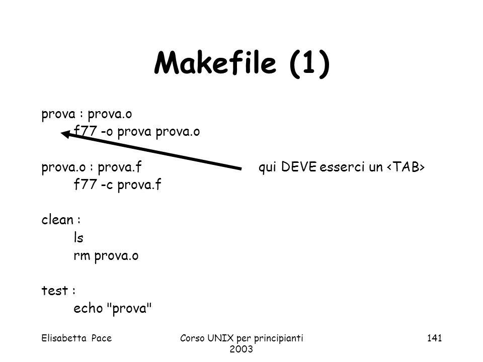 Elisabetta PaceCorso UNIX per principianti 2003 141 Makefile (1) prova : prova.o f77 -o prova prova.o prova.o : prova.f qui DEVE esserci un f77 -c pro