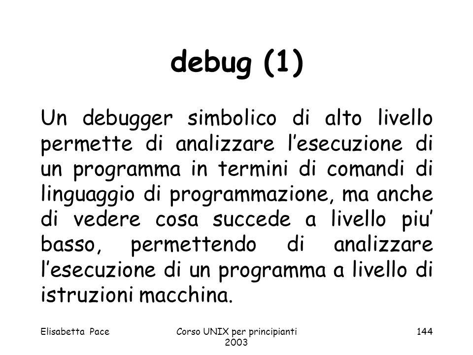 Elisabetta PaceCorso UNIX per principianti 2003 144 debug (1) Un debugger simbolico di alto livello permette di analizzare lesecuzione di un programma
