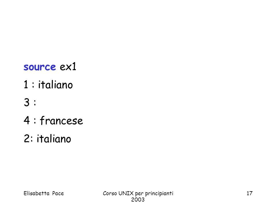 Elisabetta PaceCorso UNIX per principianti 2003 17 source ex1 1 : italiano 3 : 4 : francese 2: italiano