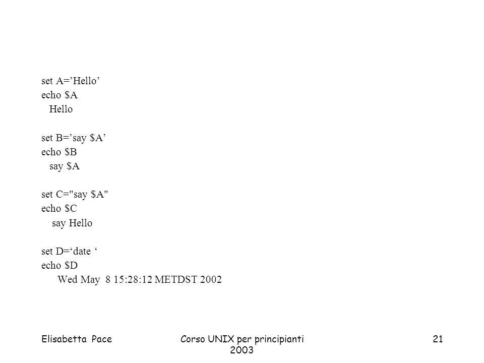 Elisabetta PaceCorso UNIX per principianti 2003 21 set A=Hello echo $A Hello set B=say $A echo $B say $A set C=