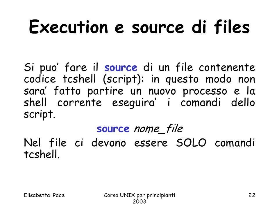 Elisabetta PaceCorso UNIX per principianti 2003 22 Execution e source di files Si puo fare il source di un file contenente codice tcshell (script): in