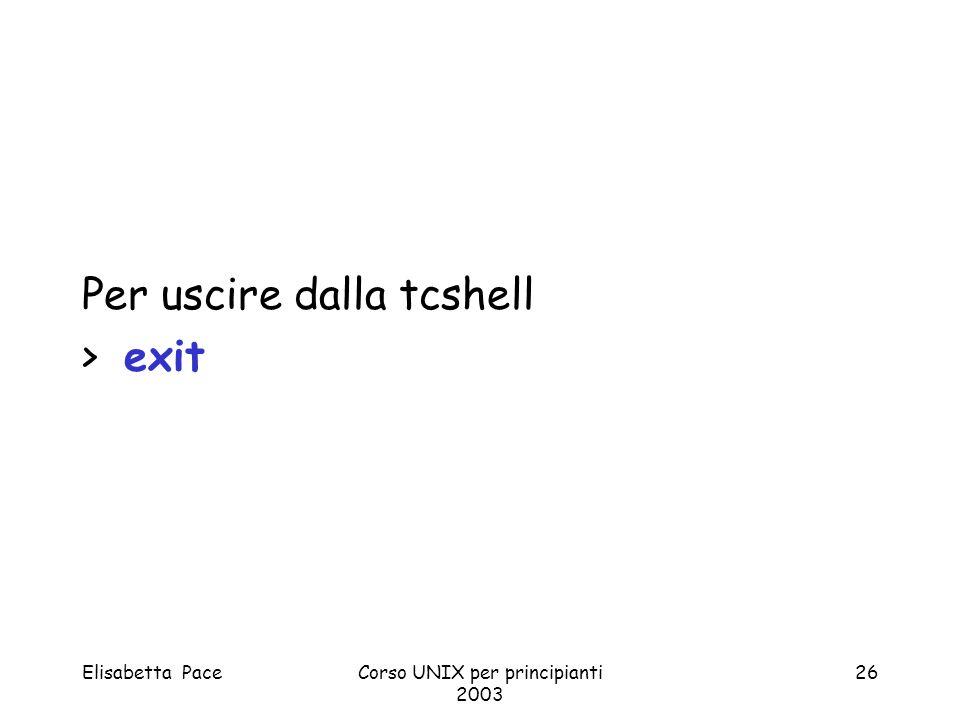 Elisabetta PaceCorso UNIX per principianti 2003 26 Per uscire dalla tcshell > exit
