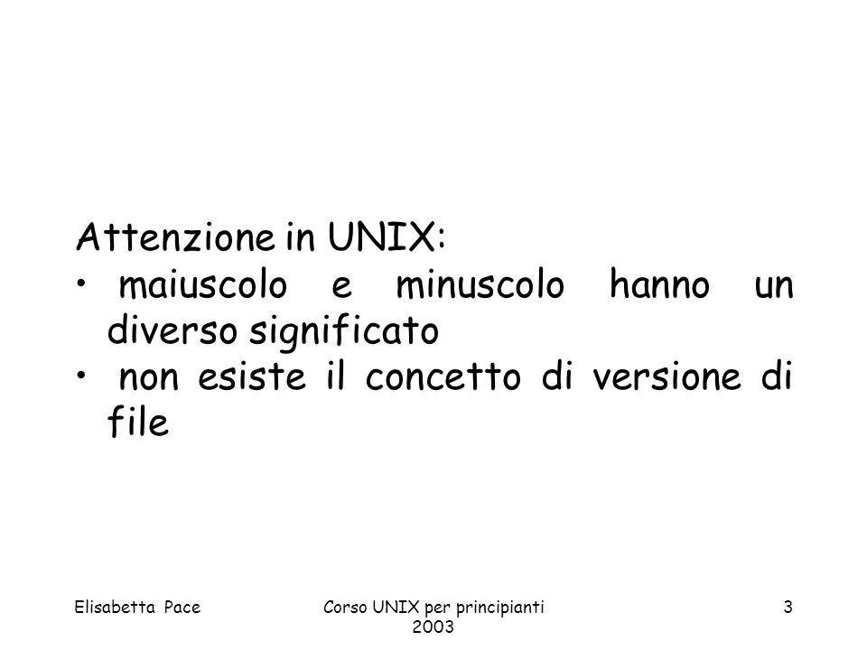 Elisabetta PaceCorso UNIX per principianti 2003 3 Attenzione in UNIX: maiuscolo e minuscolo hanno un diverso significato non esiste il concetto di ver