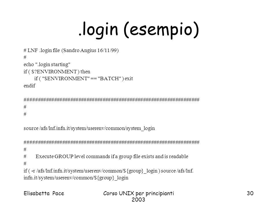 Elisabetta PaceCorso UNIX per principianti 2003 30.login (esempio) # LNF.login file (Sandro Angius 16/11/99) # echo