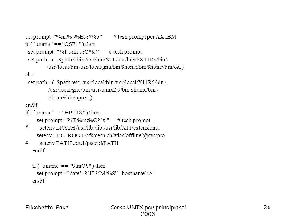 Elisabetta PaceCorso UNIX per principianti 2003 36 set prompt=
