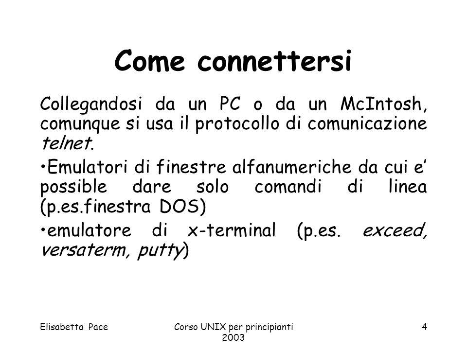 Elisabetta PaceCorso UNIX per principianti 2003 4 Come connettersi Collegandosi da un PC o da un McIntosh, comunque si usa il protocollo di comunicazi