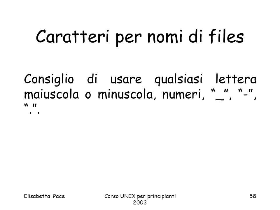 Elisabetta PaceCorso UNIX per principianti 2003 58 Caratteri per nomi di files Consiglio di usare qualsiasi lettera maiuscola o minuscola, numeri, _,