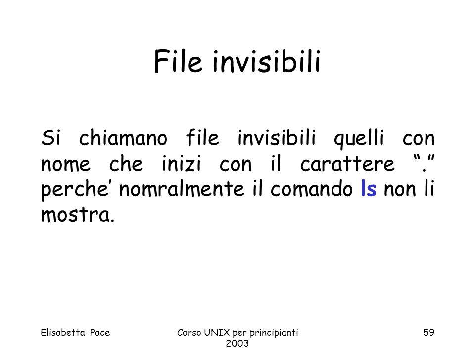 Elisabetta PaceCorso UNIX per principianti 2003 59 File invisibili Si chiamano file invisibili quelli con nome che inizi con il carattere. perche nomr