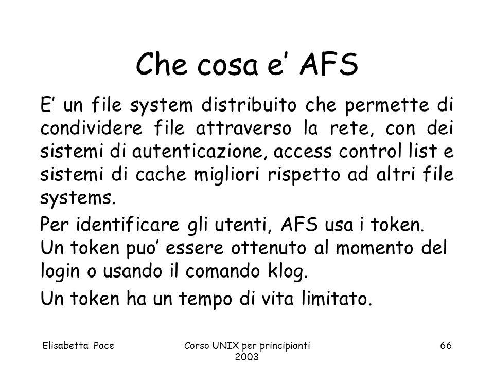 Elisabetta PaceCorso UNIX per principianti 2003 66 Che cosa e AFS E un file system distribuito che permette di condividere file attraverso la rete, co