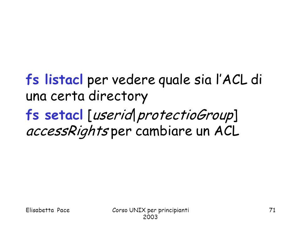 Elisabetta PaceCorso UNIX per principianti 2003 71 fs listacl per vedere quale sia lACL di una certa directory fs setacl [userid|protectioGroup] acces