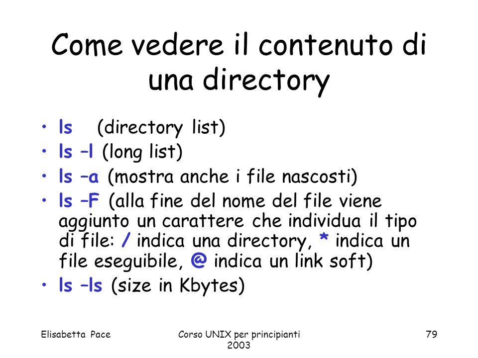 Elisabetta PaceCorso UNIX per principianti 2003 79 Come vedere il contenuto di una directory ls (directory list) ls –l (long list) ls –a (mostra anche