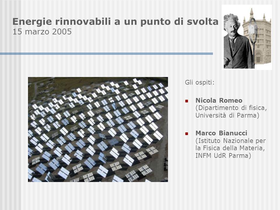 Energie rinnovabili a un punto di svolta 15 marzo 2005 Gli ospiti: Nicola Romeo (Dipartimento di fisica, Università di Parma) Marco Bianucci (Istituto Nazionale per la Fisica della Materia, INFM UdR Parma)