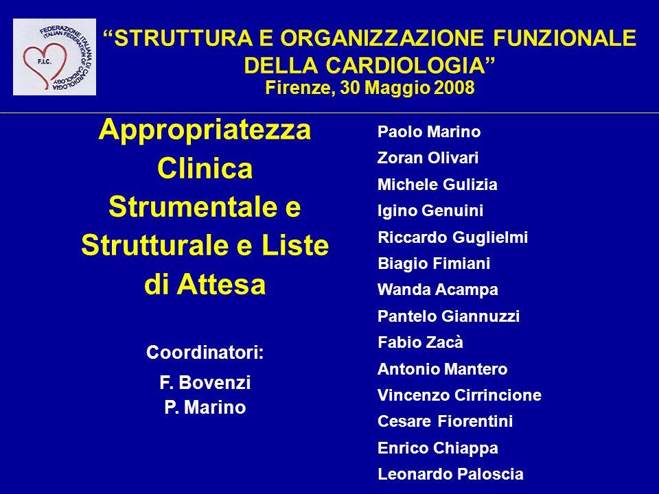 STRUTTURA E ORGANIZZAZIONE FUNZIONALE DELLA CARDIOLOGIA Firenze, 30 Maggio 2008 Coordinatori: F. Bovenzi P. Marino Appropriatezza Clinica Strumentale