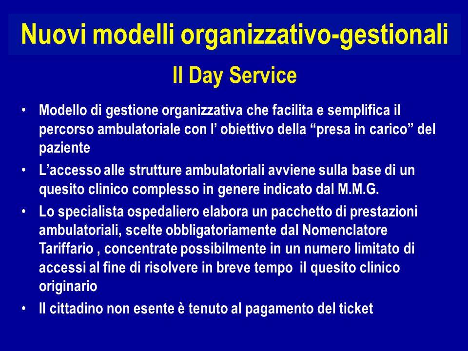 Nuovi modelli organizzativo-gestionali Modello di gestione organizzativa che facilita e semplifica il percorso ambulatoriale con l obiettivo della pre