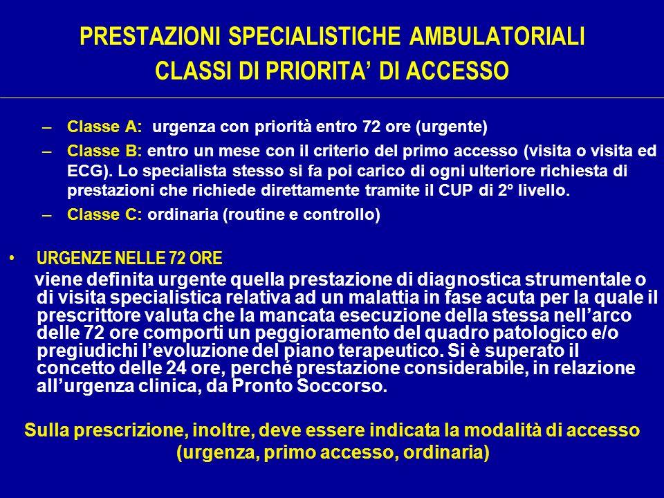 PRESTAZIONI SPECIALISTICHE AMBULATORIALI CLASSI DI PRIORITA DI ACCESSO –Classe A: urgenza con priorità entro 72 ore (urgente) –Classe B: entro un mese