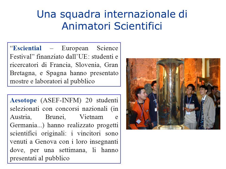 Una squadra internazionale di Animatori Scientifici Aesotope (ASEF-INFM) 20 studenti selezionati con concorsi nazionali (in Austria, Brunei, Vietnam e