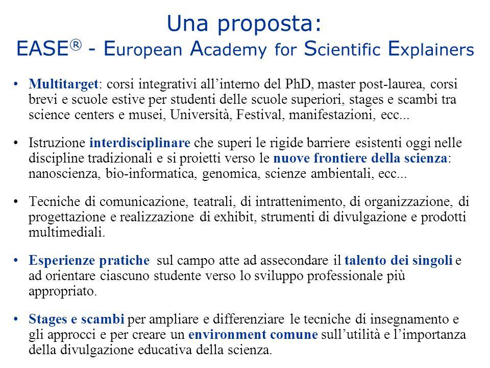 Una proposta: EASE ® - E uropean A cademy for S cientific E xplainers Multitarget: corsi integrativi allinterno del PhD, master post-laurea, corsi bre