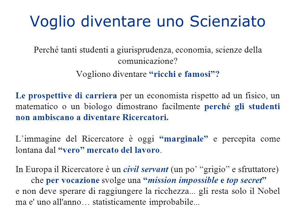 Voglio diventare uno Scienziato Perché tanti studenti a giurisprudenza, economia, scienze della comunicazione? Vogliono diventare ricchi e famosi? Le