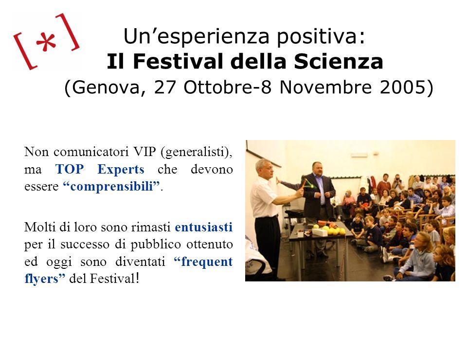 Unesperienza positiva: Il Festival della Scienza (Genova, 27 Ottobre-8 Novembre 2005) Non comunicatori VIP (generalisti), ma TOP Experts che devono es