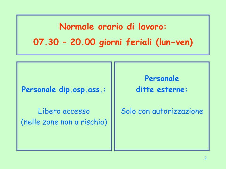 2 Normale orario di lavoro: 07.30 – 20.00 giorni feriali (lun-ven) Personale dip.osp.ass.: Libero accesso (nelle zone non a rischio) Personale ditte esterne: Solo con autorizzazione