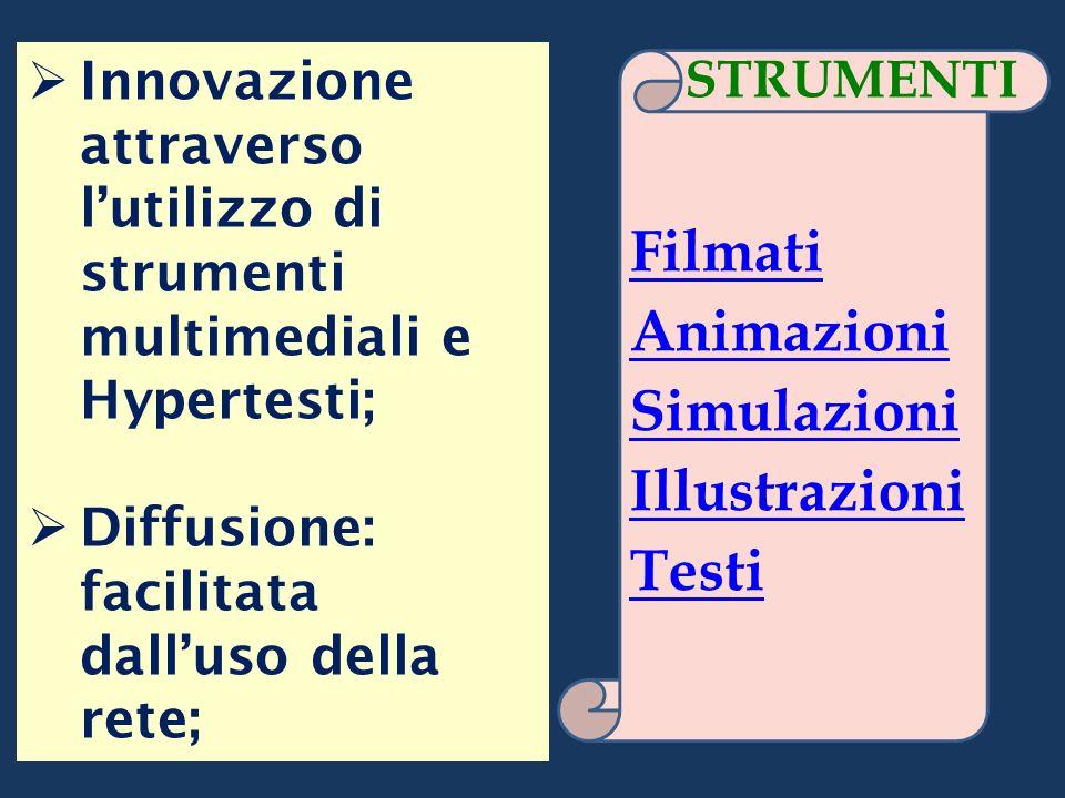 Innovazione attraverso lutilizzo di strumenti multimediali e Hypertesti; Diffusione: facilitata dalluso della rete; Filmati Animazioni Simulazioni Ill