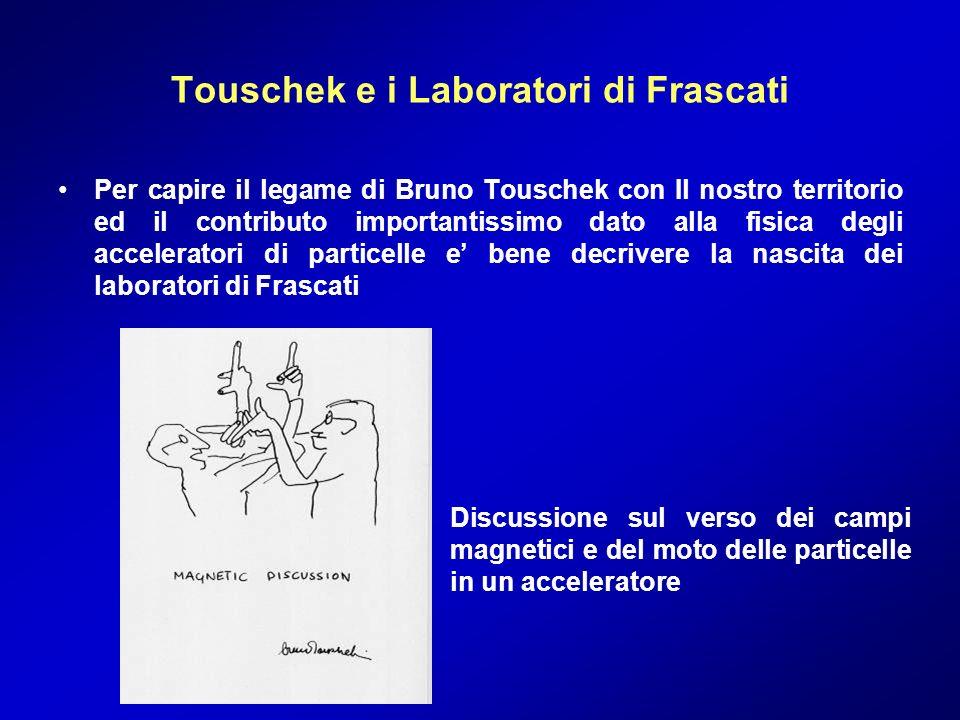 Touschek e i Laboratori di Frascati Per capire il legame di Bruno Touschek con Il nostro territorio ed il contributo importantissimo dato alla fisica
