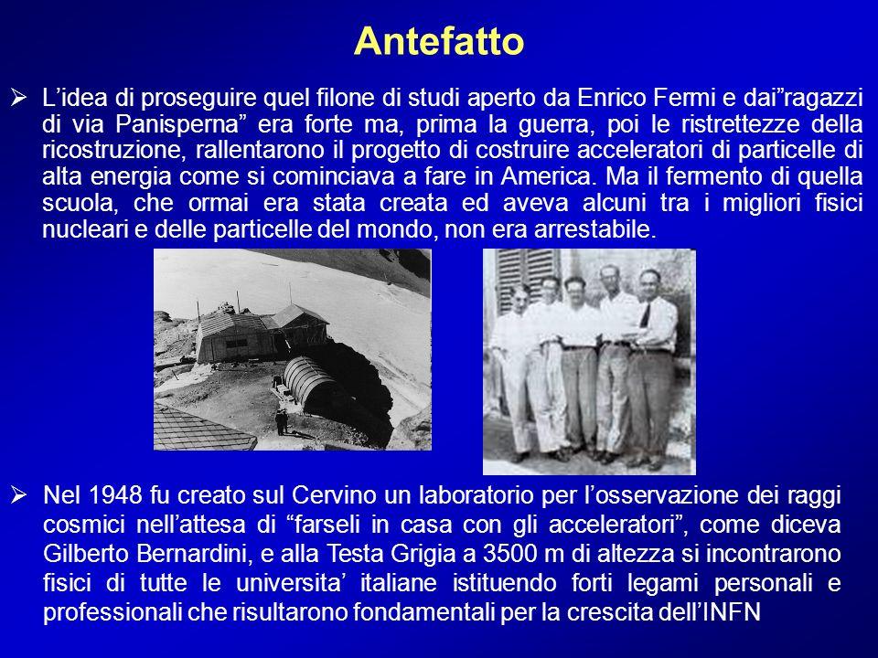 Lidea di proseguire quel filone di studi aperto da Enrico Fermi e dairagazzi di via Panisperna era forte ma, prima la guerra, poi le ristrettezze dell