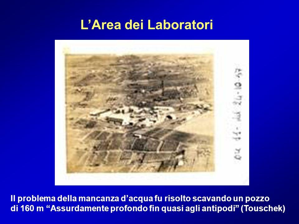 LArea dei Laboratori Il problema della mancanza dacqua fu risolto scavando un pozzo di 160 m Assurdamente profondo fin quasi agli antipodi (Touschek)