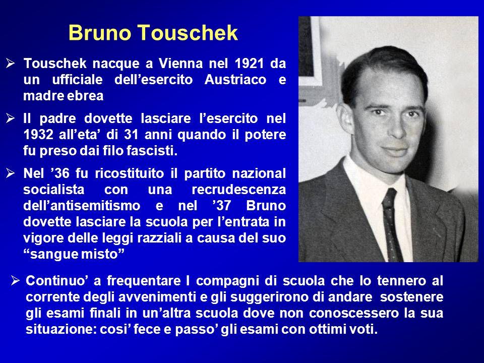 Bruno Touschek Touschek nacque a Vienna nel 1921 da un ufficiale dellesercito Austriaco e madre ebrea Il padre dovette lasciare lesercito nel 1932 all