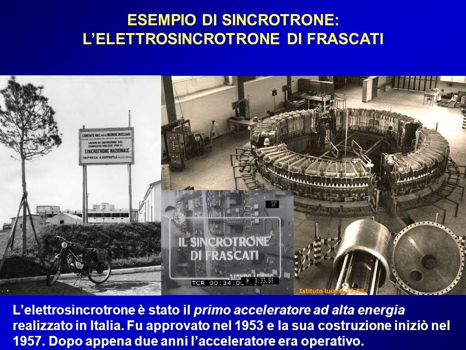 ESEMPIO DI SINCROTRONE: LELETTROSINCROTRONE DI FRASCATI Lelettrosincrotrone è stato il primo acceleratore ad alta energia realizzato in Italia. Fu app