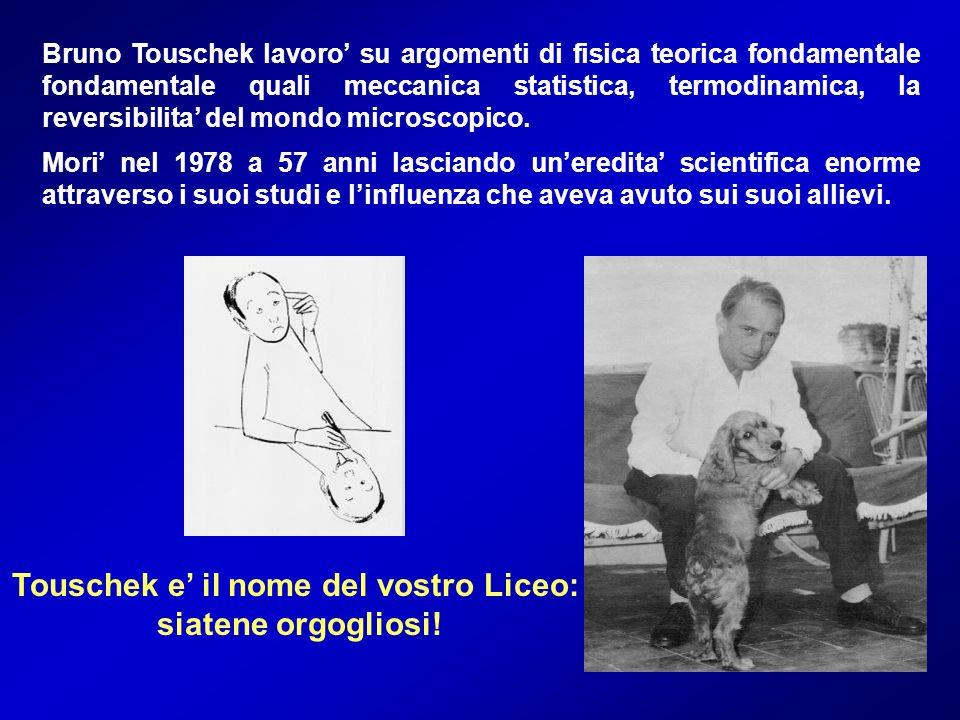 Bruno Touschek lavoro su argomenti di fisica teorica fondamentale fondamentale quali meccanica statistica, termodinamica, la reversibilita del mondo m