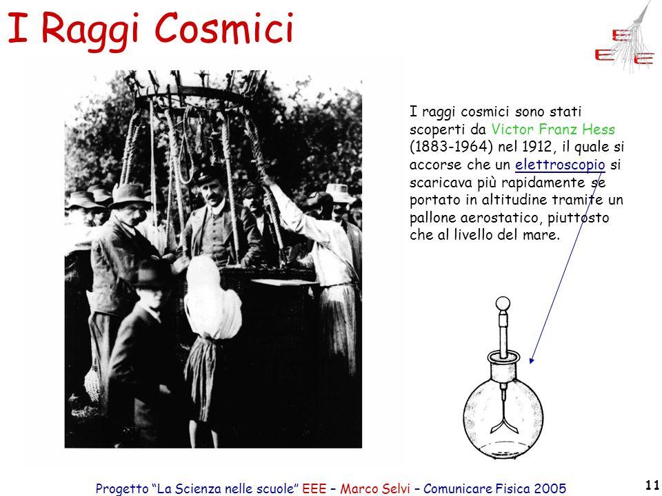 Progetto La Scienza nelle scuole EEE – Marco Selvi – Comunicare Fisica 2005 11 I Raggi Cosmici I raggi cosmici sono stati scoperti da Victor Franz Hes