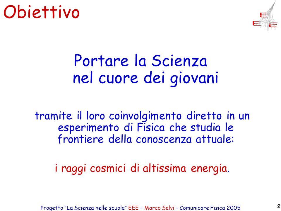 Progetto La Scienza nelle scuole EEE – Marco Selvi – Comunicare Fisica 2005 2 Obiettivo Portare la Scienza nel cuore dei giovani tramite il loro coinv