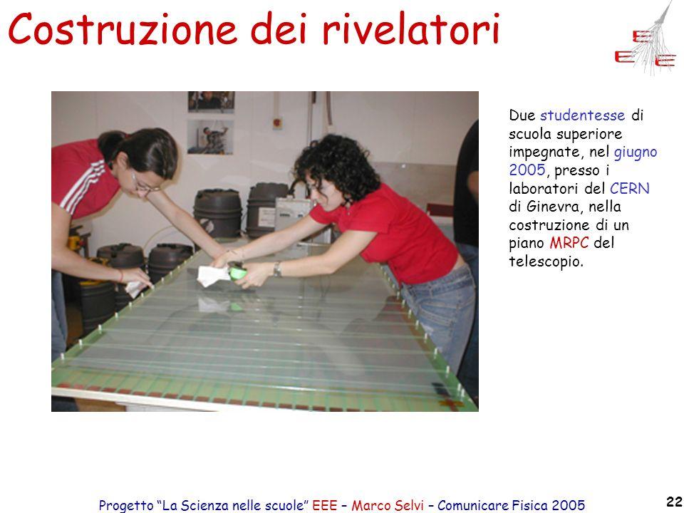 Progetto La Scienza nelle scuole EEE – Marco Selvi – Comunicare Fisica 2005 22 Costruzione dei rivelatori Due studentesse di scuola superiore impegnat
