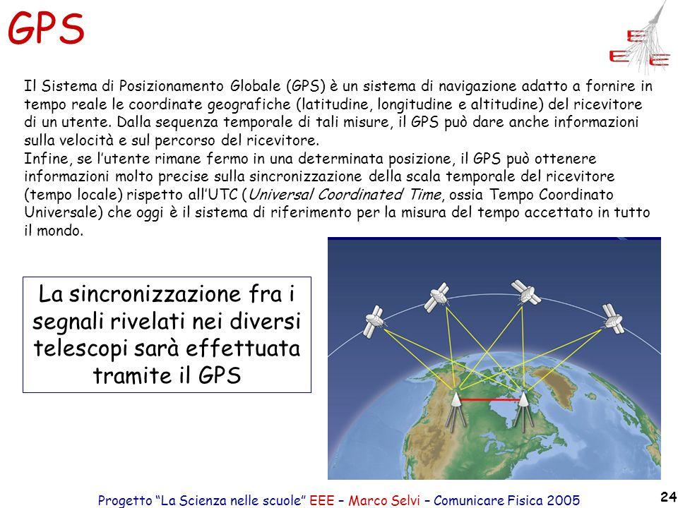 Progetto La Scienza nelle scuole EEE – Marco Selvi – Comunicare Fisica 2005 24 GPS Il Sistema di Posizionamento Globale (GPS) è un sistema di navigazi