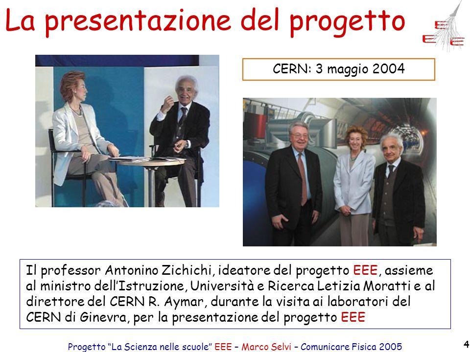 Progetto La Scienza nelle scuole EEE – Marco Selvi – Comunicare Fisica 2005 4 La presentazione del progetto Il professor Antonino Zichichi, ideatore d