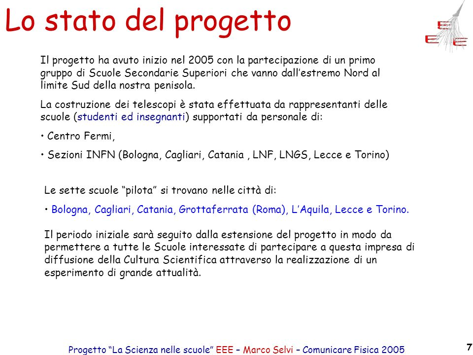 Progetto La Scienza nelle scuole EEE – Marco Selvi – Comunicare Fisica 2005 7 Lo stato del progetto Il progetto ha avuto inizio nel 2005 con la partec