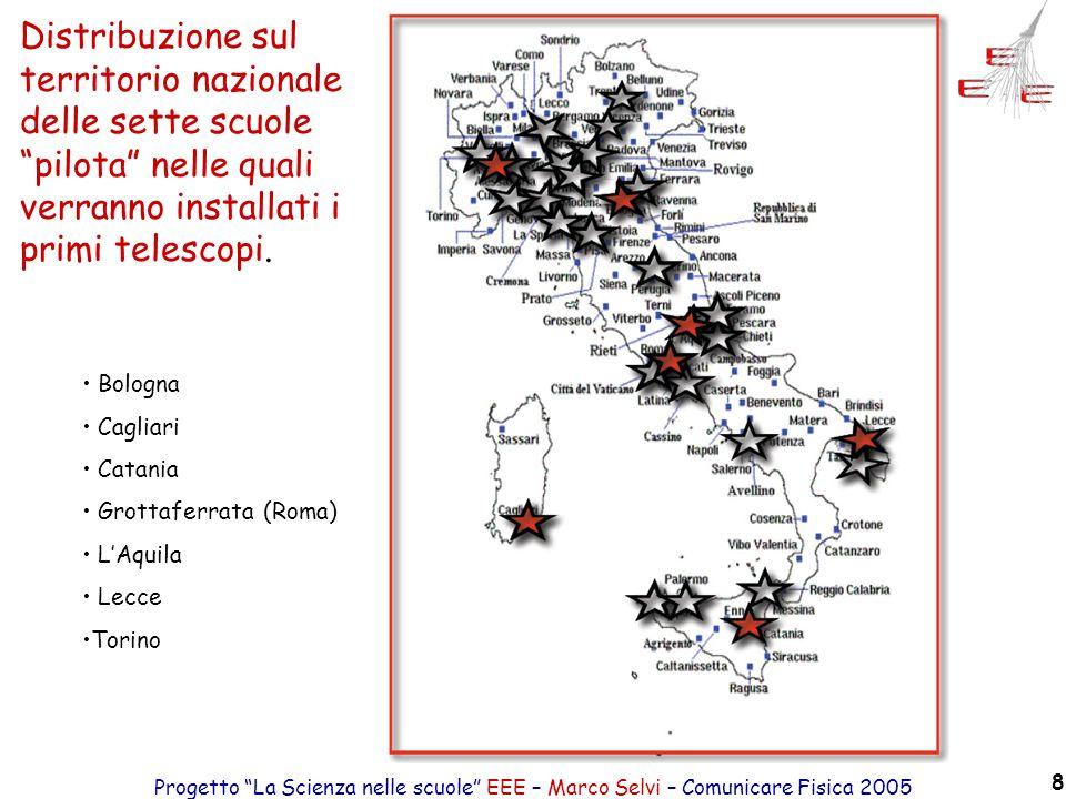 Progetto La Scienza nelle scuole EEE – Marco Selvi – Comunicare Fisica 2005 8 Distribuzione sul territorio nazionale delle sette scuole pilota nelle q