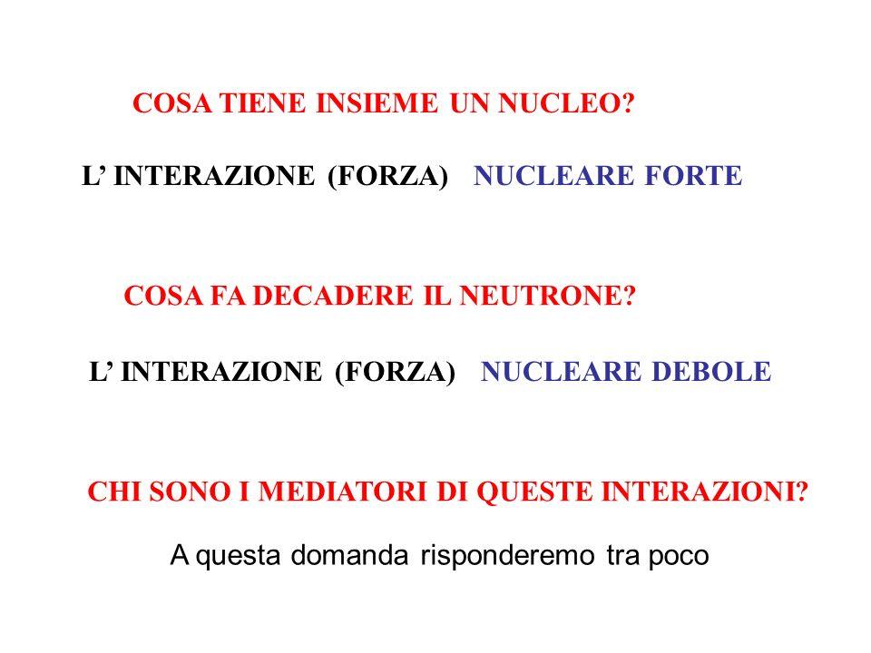 COSA TIENE INSIEME UN NUCLEO? L INTERAZIONE (FORZA)NUCLEARE FORTE COSA FA DECADERE IL NEUTRONE? L INTERAZIONE (FORZA)NUCLEARE DEBOLE CHI SONO I MEDIAT