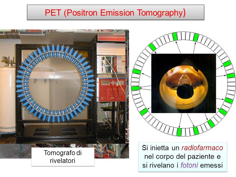 PET (Positron Emission Tomography ) Tomografo di rivelatori Si inietta un radiofarmaco nel corpo del paziente e si rivelano i fotoni emessi