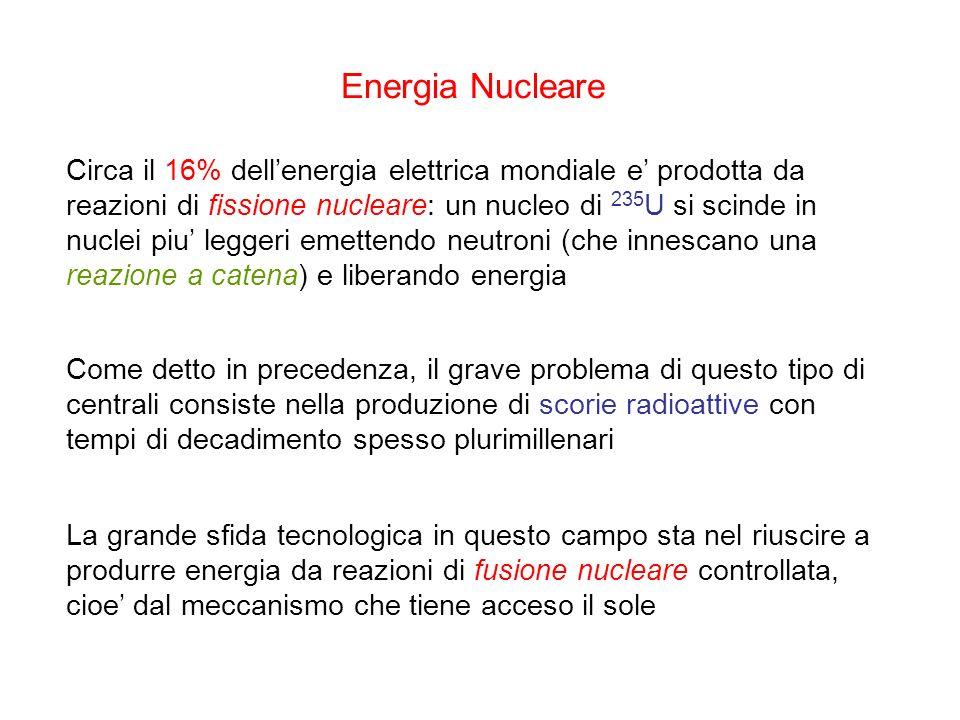 Energia Nucleare Circa il 16% dellenergia elettrica mondiale e prodotta da reazioni di fissione nucleare: un nucleo di 235 U si scinde in nuclei piu l