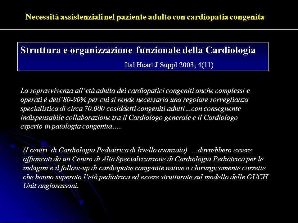 Necessità assistenziali nel paziente adulto con cardiopatia congenita Struttura e organizzazione funzionale della Cardiologia Ital Heart J Suppl 2003;
